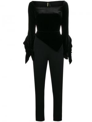 Бархатный комбинезон с квадратным вырезом Rayleigh Roland Mouret. Цвет: чёрный