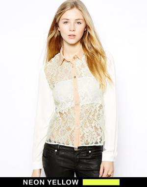 Кружевная блузка с неоновыми акцентами  Damia Jovonnista. Цвет: желтый