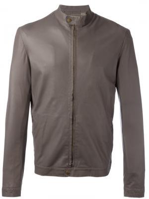 Кожаная куртка с узким воротником Salvatore Santoro. Цвет: коричневый
