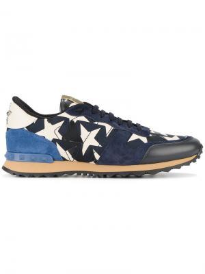 Кроссовки с принтом звезд Valentino. Цвет: синий