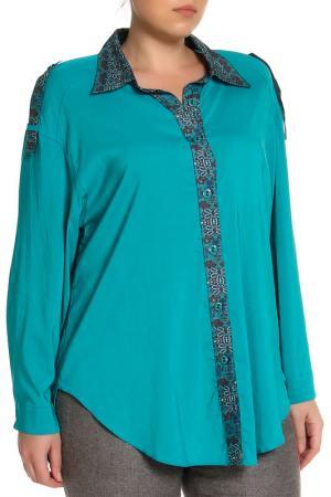Блуза EVA Collection. Цвет: бирюзовый