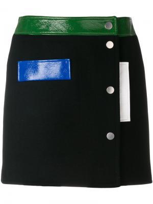 Мини-юбка колор блок Courrèges. Цвет: чёрный