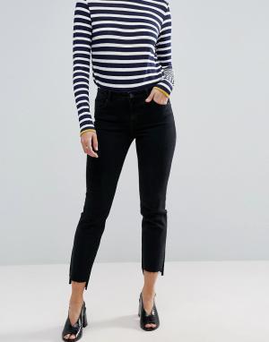 ASOS Черные прямые джинсы с асимметричными краями CASTILE. Цвет: черный
