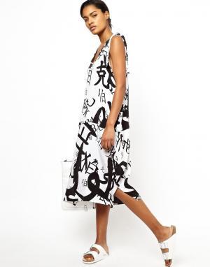 Платье с принтом в китайском стиле BACK by Ann-Sofie. Цвет: black on white