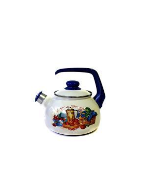 Чайник с бак. руч., со свистком 2,5 л METROT. Цвет: бежевый
