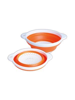 Друшлаг складной пластик/силикон, D 23 см BAYERHOFF. Цвет: оранжевый