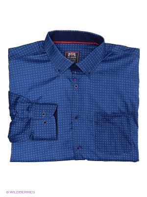 Рубашка OLSER. Цвет: синий, белый