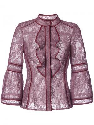 Кружевная блузка с оборками J. Mendel. Цвет: красный