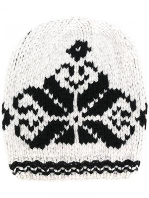 Трикотажная шапка с вышивкой Antonia Zander. Цвет: белый
