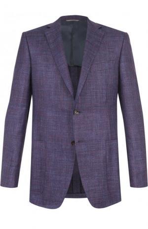 Однобортный пиджак из смеси шерсти и льна с шелком Canali. Цвет: фиолетовый