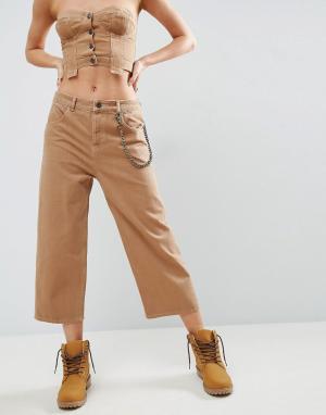 ASOS Укороченные расклешенные джинсы табачного цвета. Цвет: коричневый