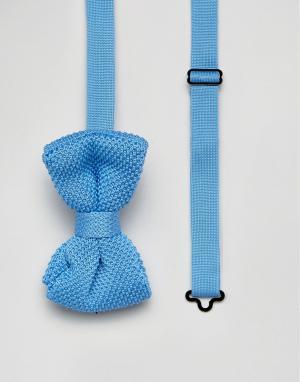 7X Вязаный галстук-бабочка. Цвет: синий