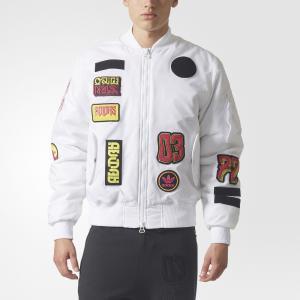 Утепленная куртка-бомбер Logo  Originals adidas. Цвет: белый