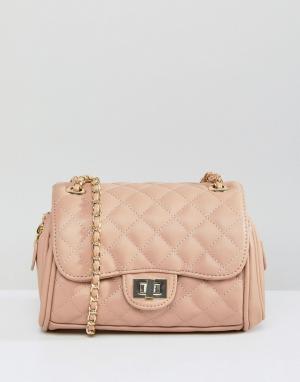 Marc B Маленькая стеганая сумка через плечо Knightsbridge. Цвет: бежевый