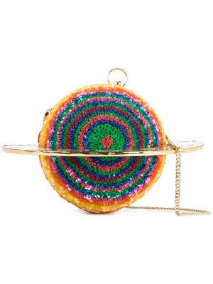 Клатч Planet с бархатным кольцом и пайетками Manish Arora. Цвет: многоцветный