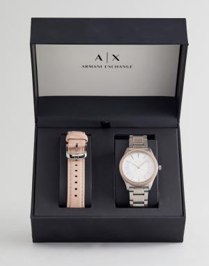 Armani Exchange Часы со сменным кожаным ремешком в подарочном наборе A. Цвет: белый