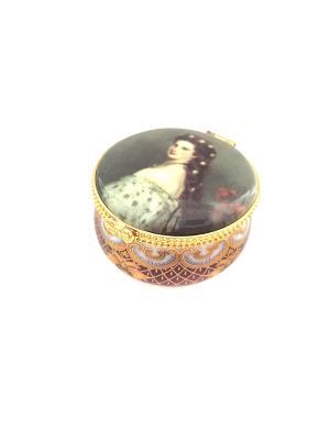 Фарфоровая шкатулка Принцесса  СиСи. Reutter Porzellan. Цвет: золотистый, коричневый, голубой
