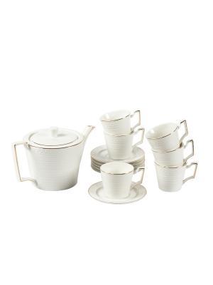 Кофейный сервиз на 6 персон, 14предметов Elff Ceramics. Цвет: белый
