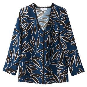 Блузка с V-образным вырезом и длинными рукавами SUNCOO. Цвет: рисунок сине-зеленый