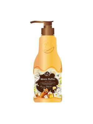 Жидкое мыло для тела с тропическими маслами, медом и молоком, ароматом меда ванили, 500 мл AHALO BUTTER. Цвет: желтый