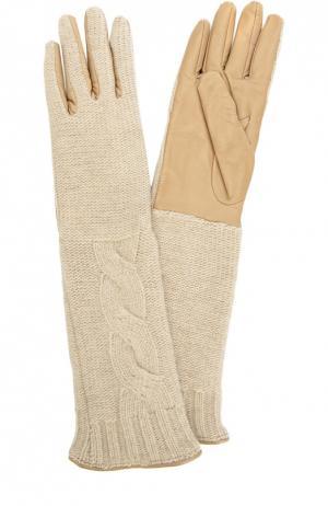 Удлиненные кожаные перчатки с отделкой из вязаного полотна Sermoneta Gloves. Цвет: бежевый