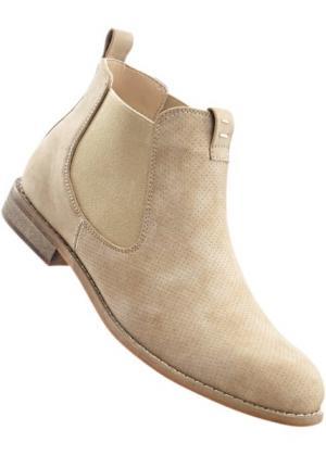 Ботинки-челси (бежевый) bonprix. Цвет: бежевый