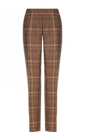 Укороченные брюки из смеси хлопка и льна в клетку Dries Van Noten. Цвет: светло-коричневый