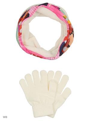 Комплект шарф-труба и перчатки Sun City. Цвет: белый