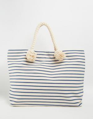Buji Baja Холщовая пляжная сумка с полосками и ручками из веревки. Цвет: french blue stripe