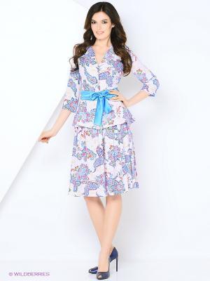 Костюм (жакет+юбка) ADZHEDO. Цвет: сиреневый, светло-голубой