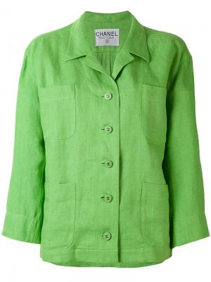 Пиджак свободного кроя Chanel Vintage. Цвет: зелёный