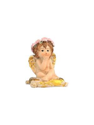 Фигурка декоративная Ангелочек на золотой подушечке Elan Gallery. Цвет: бежевый, розовый, золотистый, белый