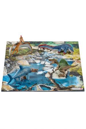 Набор мини-динозавры и пазл Schleich. Цвет: синий