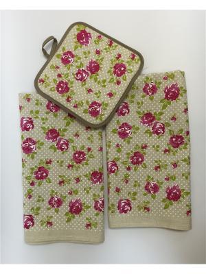 Набор полотенец A and C Collection. Цвет: бежевый, зеленый, розовый
