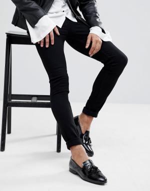 Noose & Monkey Черные джинсы скинни. Цвет: черный