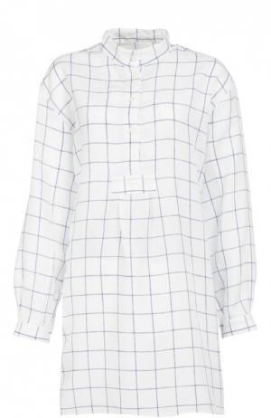 Хлопковая домашняя блуза в клетку The Sleep Shirt. Цвет: синий