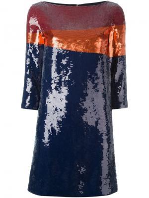 Платье с пайетками Tory Burch. Цвет: синий
