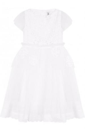 Хлопковое платье-миди с кружевной отделкой Simonetta. Цвет: белый
