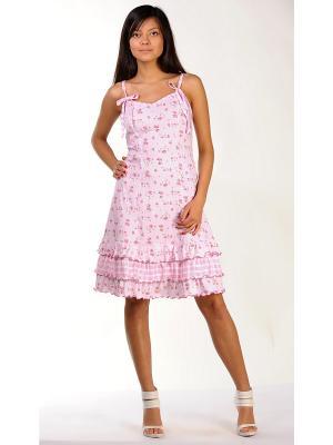 Сорочка ночная Тефия. Цвет: бледно-розовый, розовый, зеленый