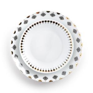 4 тарелки плоские MELLAH La Redoute Interieurs. Цвет: рисунок + белый