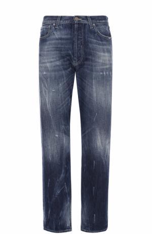 Джинсы свободного кроя с потертостями 2 Men Jeans. Цвет: синий
