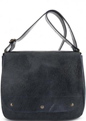 Кожаная сумка через плечо Bruno Rossi. Цвет: синий