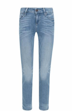 Укороченные джинсы-скинни с потертостями Paige. Цвет: голубой
