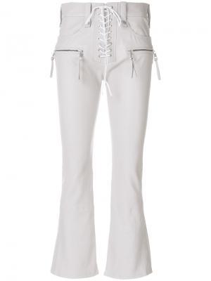 Укороченные брюки со шнуровкой спереди Unravel Project. Цвет: серый