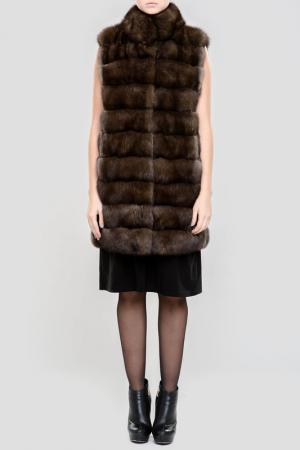 Жилет меховой PT Quality Furs. Цвет: коричневый