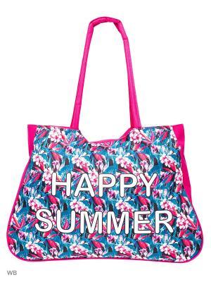 Пляжная сумка Modis. Цвет: розовый, зеленый