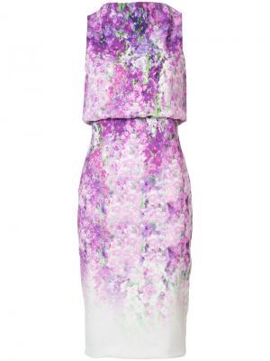 Платье с узором без рукавов Badgley Mischka. Цвет: розовый и фиолетовый