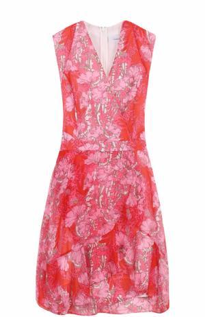 Платье с запахом и цветочным принтом Carven. Цвет: красный