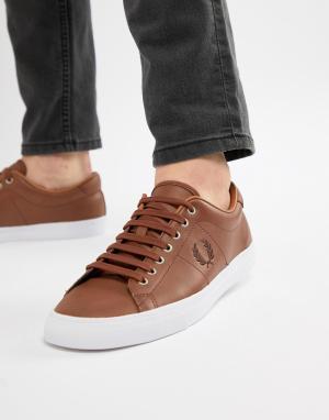 Fred Perry Светло-коричневые кожаные кроссовки Underspin. Цвет: рыжий