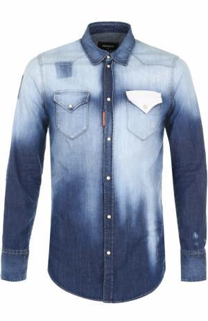 Джинсовая рубашка  контрастной отделкой Dsquared2. Цвет: синий